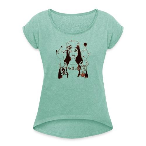 10-40 leipzig - Frauen T-Shirt mit gerollten Ärmeln