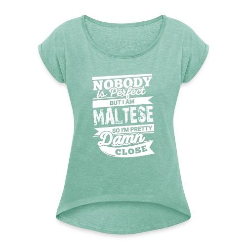 maltese - T-shirt med upprullade ärmar dam