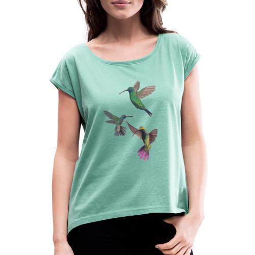 PLAYFUL birds - T-shirt med upprullade ärmar dam