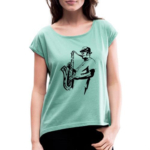 saxplayer3 - Frauen T-Shirt mit gerollten Ärmeln