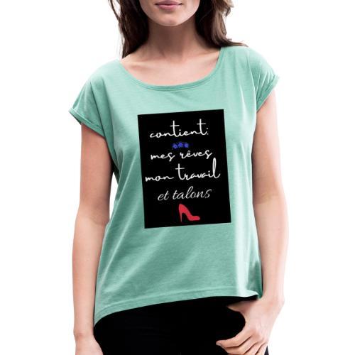 et talons - Camiseta con manga enrollada mujer
