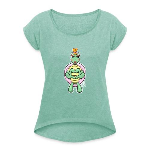 Girlie Turtle/ Schildkröte - Frauen T-Shirt mit gerollten Ärmeln