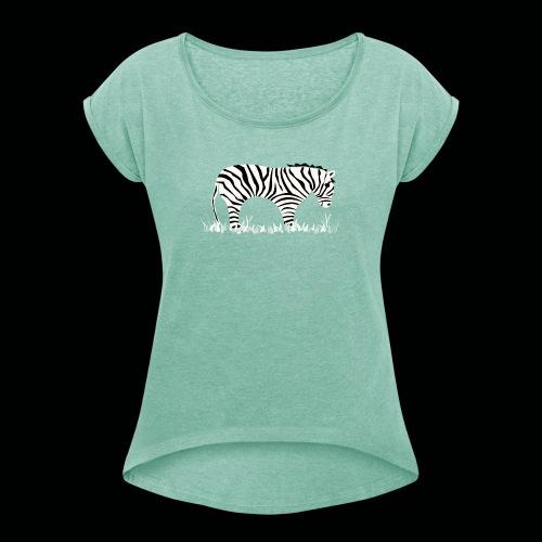 Zebra - Frauen T-Shirt mit gerollten Ärmeln