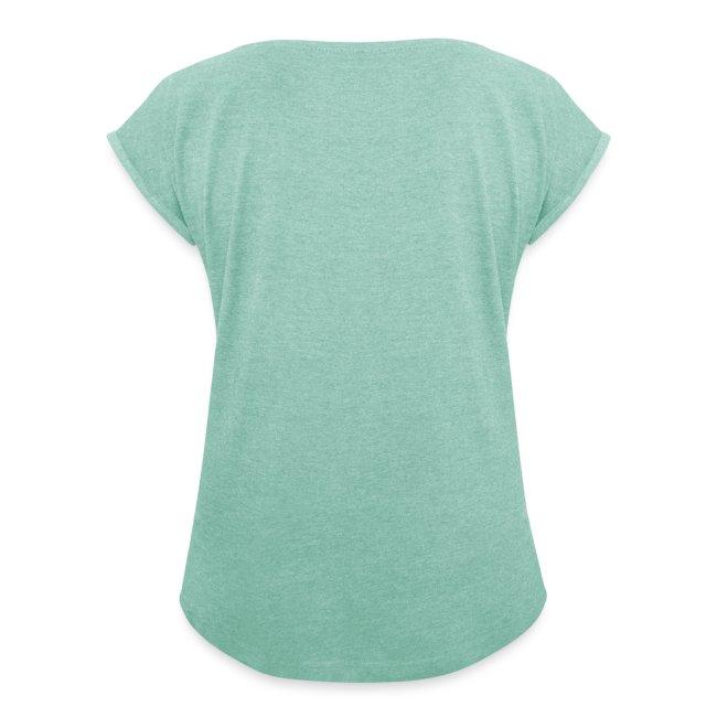 Vorschau: pixel black horse - Frauen T-Shirt mit gerollten Ärmeln