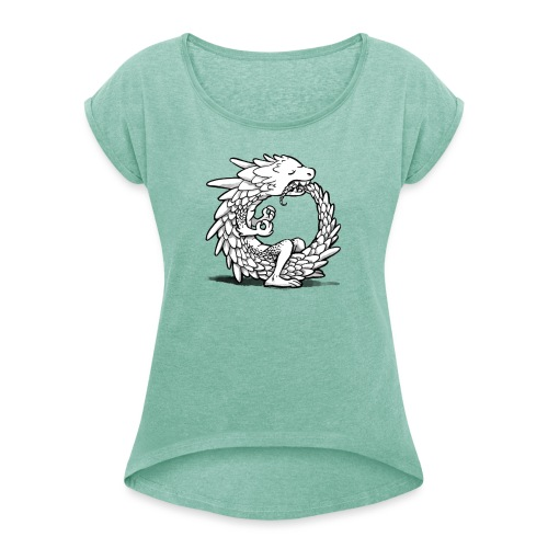 Yogadrache - Frauen T-Shirt mit gerollten Ärmeln