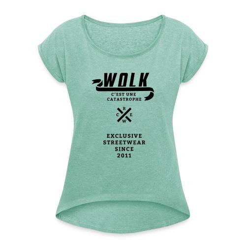 varsityx04 - Vrouwen T-shirt met opgerolde mouwen