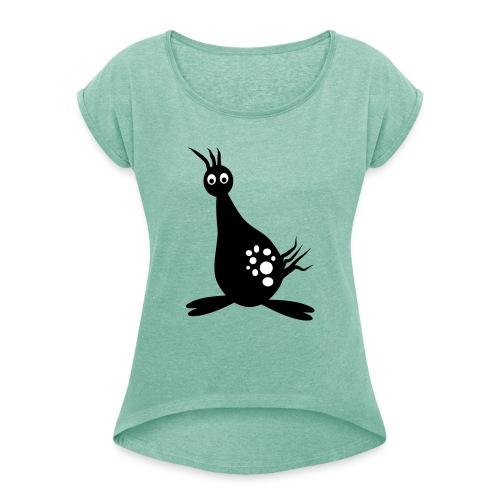 monster vogel - Vrouwen T-shirt met opgerolde mouwen
