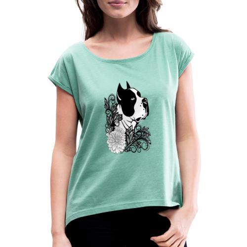 perro con flores - Camiseta con manga enrollada mujer