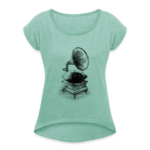 Gramophone - Women's T-Shirt with rolled up sleeves