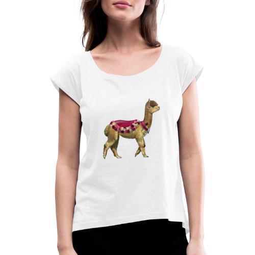 VINTAGE LAMA BLOEMEN - Vrouwen T-shirt met opgerolde mouwen