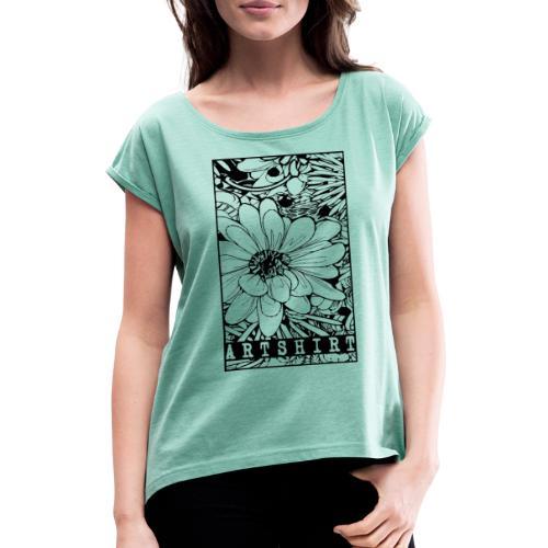 bloem motief artshirt - Vrouwen T-shirt met opgerolde mouwen