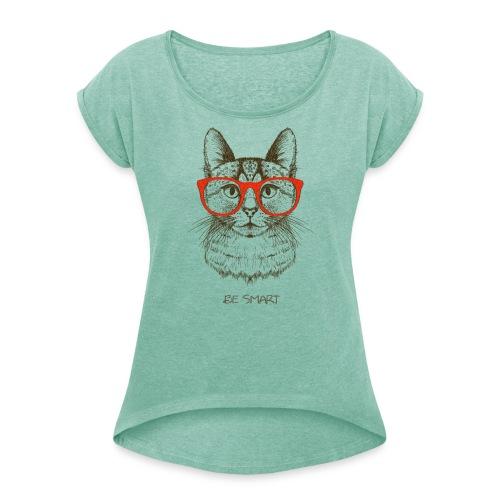Vorschau: Cat Hipster - Frauen T-Shirt mit gerollten Ärmeln