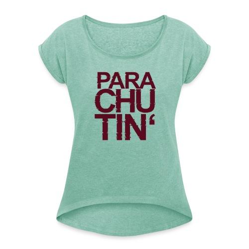 Parachute Glitch v2 - Frauen T-Shirt mit gerollten Ärmeln