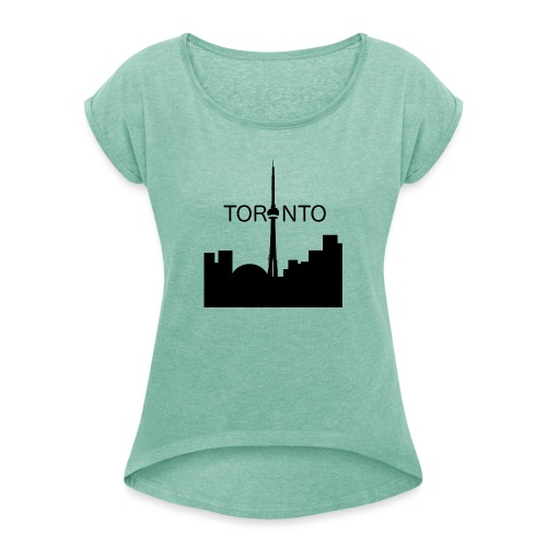 Toronto - T-shirt med upprullade ärmar dam