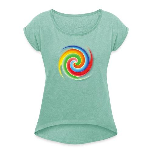 deisold rainbow Spiral - Frauen T-Shirt mit gerollten Ärmeln