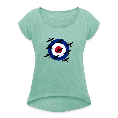 Spitfire vintage warbird - Women's T-Shirt with rolled up sleeves