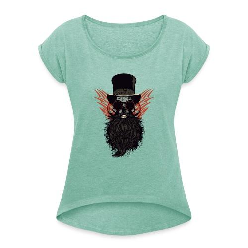 tete de mort crane skull barbu lunette de soleil r - T-shirt à manches retroussées Femme