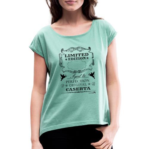 1.01 Invecchiato per Perf. CE (Inserisci anno al centro) - Maglietta da donna con risvolti