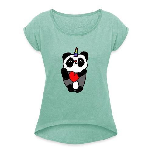 pandicorn - Vrouwen T-shirt met opgerolde mouwen