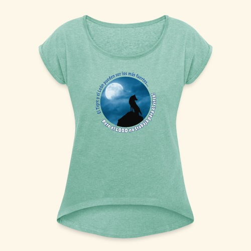LOBO - Camiseta con manga enrollada mujer