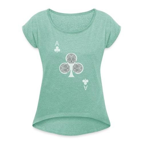 Ace of clubs -gray version- The skulls players - T-shirt à manches retroussées Femme