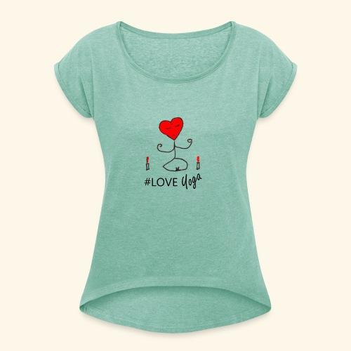 loveyoga - Maglietta da donna con risvolti