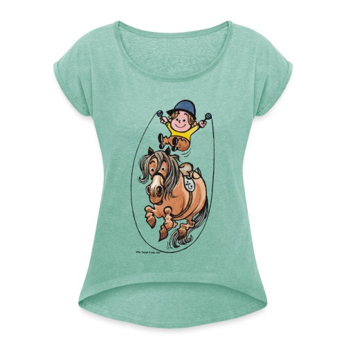 Thelwell Funny Rope Jumping Horse And Rider - Women's T-Shirt with rolled up sleeves