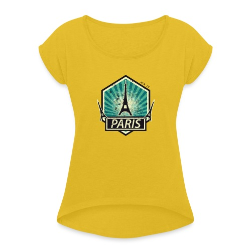 PARIS, FRANCE - Women's T-Shirt with rolled up sleeves