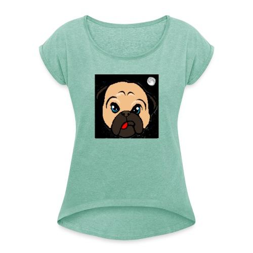 Uten navn - T-skjorte med rulleermer for kvinner