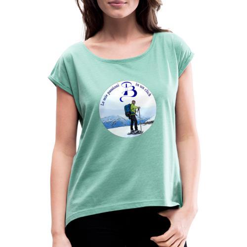 Logo cartone ciaspole - Maglietta da donna con risvolti