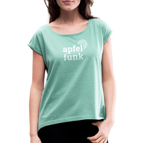 Apfelfunk Dark Edition - Frauen T-Shirt mit gerollten Ärmeln