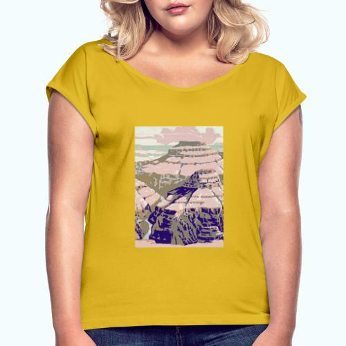 Rocky Mountains Vintage Travel Poster - Women's T-Shirt with rolled up sleeves
