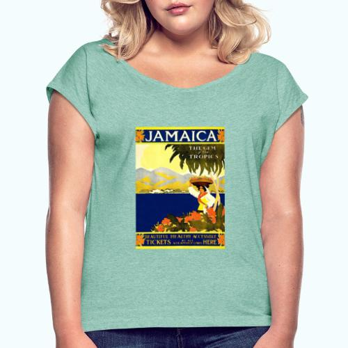 Jamaica Vintage Travel Poster - Women's T-Shirt with rolled up sleeves