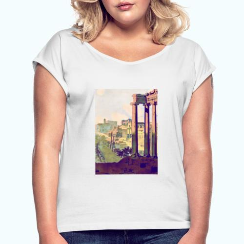 Rome Vintage Travel Poster - Women's T-Shirt with rolled up sleeves