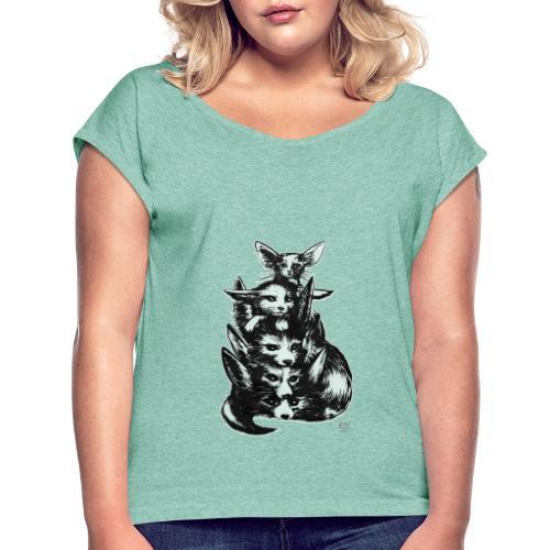 Wüstenfuchs Bande - Frauen T-Shirt mit gerollten Ärmeln