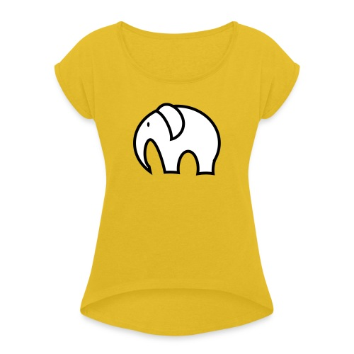 olifant pictogram - Vrouwen T-shirt met opgerolde mouwen