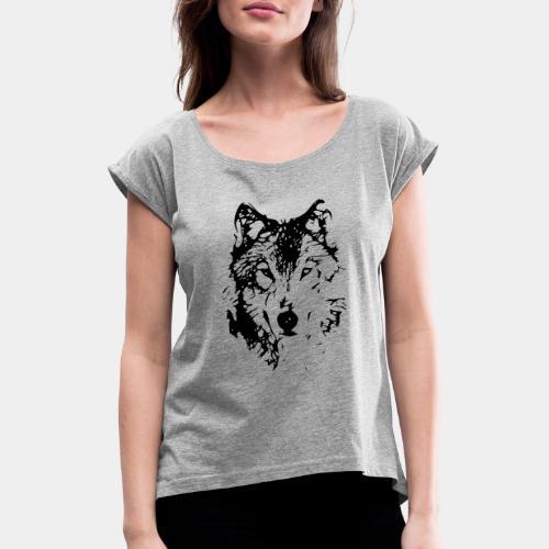 WOLF_03 - Koszulka damska z lekko podwiniętymi rękawami
