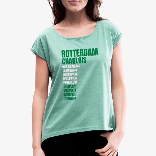 CHARLOIS KLEUR - Vrouwen T-shirt met opgerolde mouwen