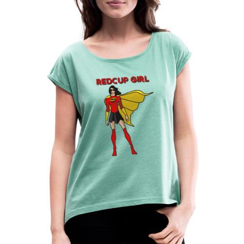RedCup Girl Mrs.Hero von MyBeerPong - Frauen T-Shirt mit gerollten Ärmeln