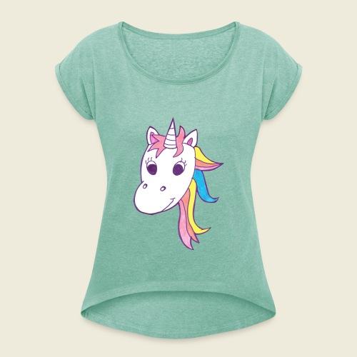 Einhorn Unicorna lila weiß bunte Mähne - Frauen T-Shirt mit gerollten Ärmeln