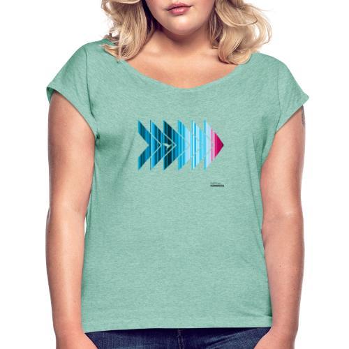 Warming stripes: Heißer ist nicht besser! - Frauen T-Shirt mit gerollten Ärmeln
