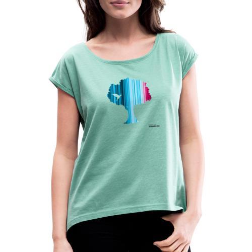 Warming stripes: Wir brauchen die Natur! - Frauen T-Shirt mit gerollten Ärmeln