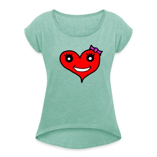 Herz Smiley Schlaufe - Frauen T-Shirt mit gerollten Ärmeln