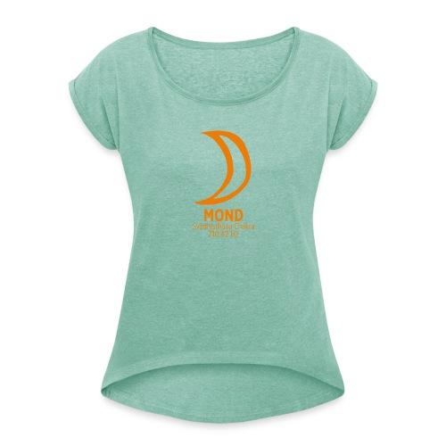 Planet Mond - Frauen T-Shirt mit gerollten Ärmeln