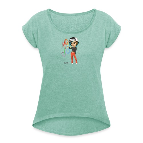 Maya - von Momio Designer Cat9999 - Frauen T-Shirt mit gerollten Ärmeln