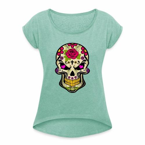 Calavera - Camiseta con manga enrollada mujer