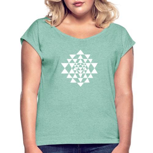 Valkoinen Shri Yantra -kuvio - Naisten T-paita, jossa rullatut hihat
