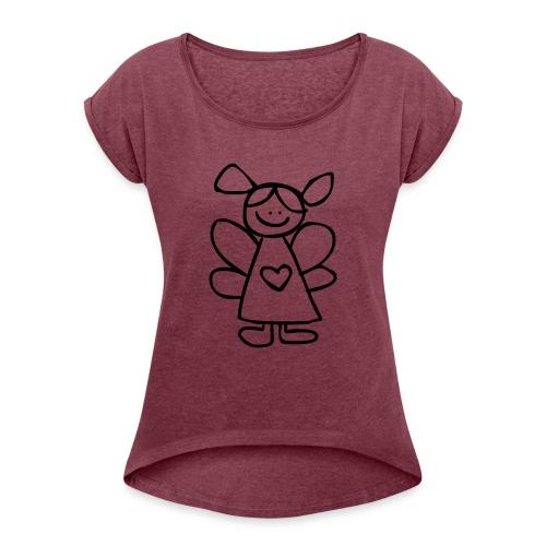 belinda's engeltje - Vrouwen T-shirt met opgerolde mouwen