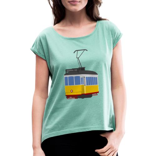 Tram car yellow - Women's T-Shirt with rolled up sleeves