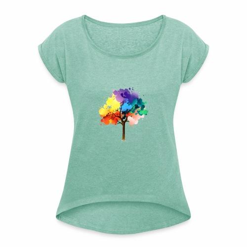 Baum - Frauen T-Shirt mit gerollten Ärmeln